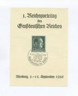 1938 3.Reich Seltenes Grünes Gedenkblatt 1. Reichsparteitag Des Großdeutschen Reiches Mit Mi 672 Mit SST Nürnberg - Allemagne