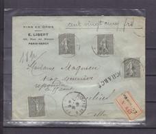 FRANCE 130*4 Sur Lettre Chargée - 1903-60 Semeuse Lignée