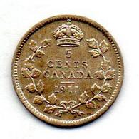 CANADA, 5 Cents, Silver, Year 1911, KM #16 - Canada