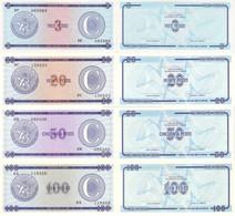 CUBA Set (4v) 3 20 50 100 Pesos ND (1985) P - FX - 20,23,24,25 Series Narrow C UNC - Cuba