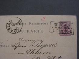 Neusalz  Oder,  Karte Mit Kastenstempel 1880 - Postwaardestukken