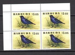 BARBUDA N° 255  BLOC DE QUATRE TIMBRES  NEUFS SANS CHARNIERE COTE  22.00€        ANIMAUX OISEAUX - Antigua And Barbuda (1981-...)