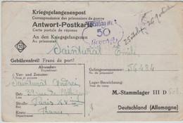 Stammlager III D [Berlin-Lichterfelde] 1942 Nach Paris - Zensurstempel 50 - Antwort-Postkarte - Allemagne