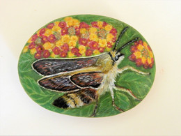 Original Painting Of A Humming Bird Hawkmoth Hand Painted On A Spanish Beach Stone Paperweight Decoration - Fermacarte