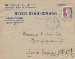 """1963 - Enveloppe PUB """"Hotel Beau Rivage"""" TONNAY BOUTONNE Pour St SAVINIEN - 1961-...."""