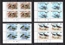 BARBUDA N° 251 à 256  BLOCS DE QUATRE TIMBRES  NEUFS SANS CHARNIERE   COTE  106.00€   ANIMAUX  OISEAUX  VOIR DESCRIPTION - Antigua And Barbuda (1981-...)