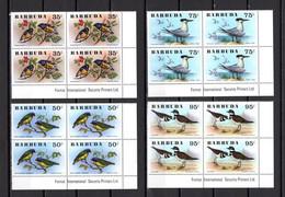 BARBUDA N° 251 à 256  BLOCS DE QUATRE TIMBRES  NEUFS SANS CHARNIERE   COTE  106.00€   ANIMAUX  OISEAUX - Antigua And Barbuda (1981-...)