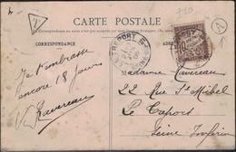 Marne - Sillery - Cachet Type 84 - Boîte Rurale Puisieulx - Carte Postale Taxée - 1906 - 1859-1955 Lettres & Documents
