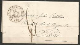 France - Précurseur - LAC Du 15/1/1847 De Chalon-sur-Saône (cachet CHALON-SUR-SAONE En Noir) Vers Paris - 1801-1848: Precursors XIX