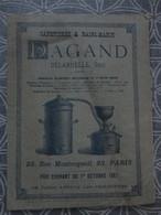 CATALOGUE TARIF CAFETIERE ET BAIN MARIE DAGAND DELARUELLE 23 RUE  MONTORGUEIL PARIS 19.5 X 14.5 CM 1887 - Frankreich