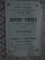 CATALOGUE TARIF RIVET BOULON OUTIL DUPONT FRERES 31 RUE DES VINAIGRIERS PARIS 24 X 16 CM VERS 1880 - Frankreich