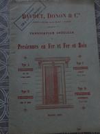 CATALOGUE TARIF PERSIENNE BAUDET DONON 62 ET 64 RUE DU ROCHER  PARIS 27 X 18.5 CM 1884 - Frankreich