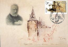 Luxembourg - Luxemburg  -  Maximumkarten 2002  -  VICTOR HUGO ( 1802-1885 ) LE CHÀTEAU DE SCHENGEN 1871 Aquarelle - Maximumkarten