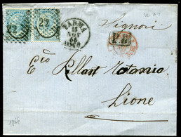 """Regno D'Italia (1866) - 20 Cent. """"Ferro Di Cavallo"""" Del II E III Tipo Su Piego Per La Francia - 1861-78 Vittorio Emanuele II"""