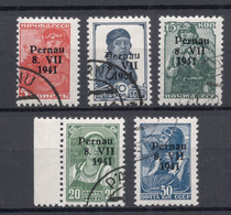 ESTLAND Estonia German Occupation 1941 Pernau Pärnu Type I , 5 Different Values , O - Estonie