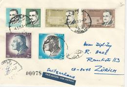 Ägypten Mi 1012-15, 1026-27 Kairo 4.3.71 Nach Zürich - Storia Postale