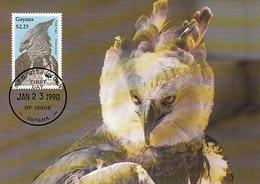 Guyana 1990 Maxicard Sc #2241 $2.25 Harpy Eagle WWF - Guyana (1966-...)