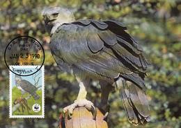 Guyana 1990 Maxicard Sc #2242 $5 Harpy Eagle WWF - Guyana (1966-...)