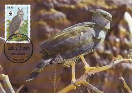 Guyana 1990 Maxicard Sc #2243 $8.90 Harpy Eagle WWF - Guyana (1966-...)