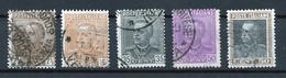 Italie - Italy - Italien 1927-29 Y&T N°204 à 208 - Michel N°263 + 281 à 283 (o) - Victor Emmanuel III - Used