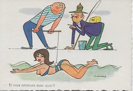 CP- ILLUSTRATEUR PICHARD ED HUMOUR SERVICE N° 211 LA PECHE ATTRAPE FEMME. - Contemporanea (a Partire Dal 1950)