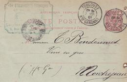 TOULOUSE SOCIETE D IMPRSSIONS ARTISTIQUES ET DE PUB CARTE LETTRE ANNEE 1901 A MR BONDOUMET NEGOCIAN EPICIER A MONTREJEAU - Frankreich