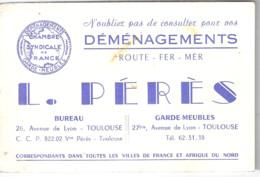 DEMENAGEMENTS  L. PERES  TOULOUSE   RUE BEAUFORT ALGER - Tarjetas De Visita