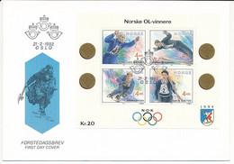 Mi Block 17 FDC / Winter Olympics Lillehammer '94, Historical Norwegian Gold Medalists  - 21 February 1992 - FDC