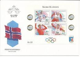 Mi Block 19 FDC / Winter Olympics Lillehammer '94, Historical Norwegian Gold Medalists  - 23 February 1993 - FDC