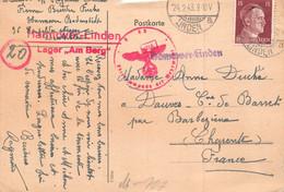 LINDEN - 1943 - Cachet Croix Gammée Rouge - Allemagne