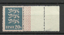 ESTLAND Estonia 1928 Michel 82 With Nice Margin Empty Field Leerfeld * - Estonie