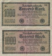 Allemagne - Reichsbanknote - Lot De 2 Billets De 1000 Mark -Berlin 15 Sept. 1922 - Série  Ha Et Ma - [ 3] 1918-1933 : République De Weimar