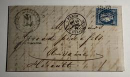 Lettre Affranchie à 25c En étoile De Paris N°14 Sur N°60c - 1849-1876: Classic Period