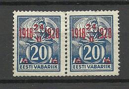 Estland Estonia 1928 Michel 72 As Pair (*) Mint No Gum/ohne Gummi - Estonie