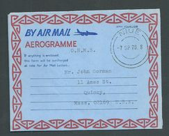 Niue 1970 Official Aerogramme On New Zealand Formular Type CTO To USA , Niue Cds 7/9/1970 - Niue