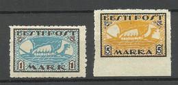 ESTLAND Estonia 1919 Michel 12 - 13 X * Local Postmaster Perforation Postmeisterzähnung - Estonie