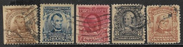 US   1902-3    Sc#303-7  5 Diff Straight Edges Used    2016 Scott Value $17.25 - United States