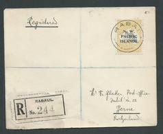 New Guinea 1918 5 Shilling Kangaroo NWPI Overprint Used On 1919 Registered Cover Rabaul To Switzerland - Papua-Neuguinea
