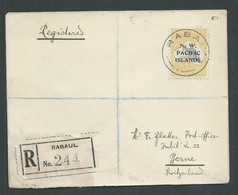 New Guinea 1918 5 Shilling Kangaroo NWPI Overprint Used On 1919 Registered Cover Rabaul To Switzerland - Papúa Nueva Guinea