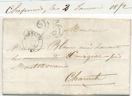 CHARENTE INFERIEURE LAC 1852 MONTLIEU TAXE 25 + BOITE RURALE I = CHEPNIERS - 1849-1876: Periodo Clásico