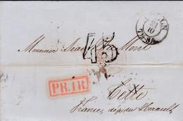 LAC Köln (Cologne) Pour Sète (34) - 21/10/1854 - CAD 15 + Marque Entrée Prusse 3 Valnes 3 - TDT45 PR1R Amb - Eau Farina - Entry Postmarks