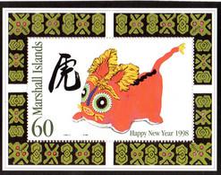 """ HOROSCOPE CHINOIS : 1998 ANNEE DU TIGRE ""  Sur Bloc Feuillet Neuf ** MNH Des îles Marshall. - Astrologie"