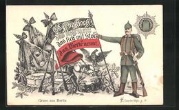 AK Berlin, 4. Garde-Regiment Z. F., Soldat Mit Fahne - Reggimenti