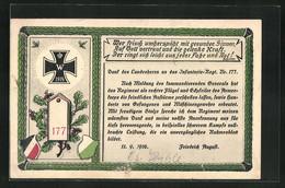 AK Wer Frisch Umherspäht Mit Gesunden Sinnen..., Regiment No. 177, Eisernes Kreuz 1914 - Reggimenti
