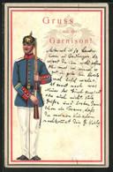 AK Mit Aufgeklebtem Soldat In Uniform, Gruss Aus Der Garnison - Reggimenti