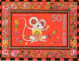 """ HOROSCOPE CHINOIS : 1996 ANNEE DU RAT ""  Sur Bloc Feuillet Neuf ** MNH Des îles Marshall. - Astrologie"