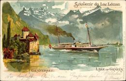 Lithographie Genf Kanton Schweiz, Lac Leman, Genfer See, Dampfer - GE Genève