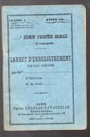 Carnet 'enregistrement Des Tirs  éxécutés 190xx Infanterie Coloniale (PPP23948) - Documenten