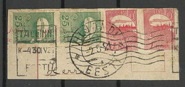 Estland Estonia 1921 O Viljandi Fellin & Tallinn On Cut Out Michel 15 & 27 As Pairs - Estonie