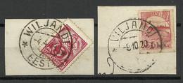 Estland Estonia Viljandi Fellin Cancel On Cut Outs O 1920 & 1924 Michel 37 A & 19 - Estonie